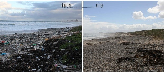 Learners from Sinenjongo High School braved the rain to clean up Sunset Beach in Milnerton